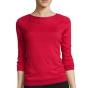 Worthington® 3/4-Sleeve Cable-Neck Sweater - Petite