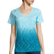 Made For Life™ Short-Sleeve Ombré Print Shirred T-Shirt - Petite