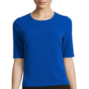 Liz Claiborne® Elbow-Sleeve Textured Knit Top - Petite
