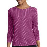 Liz Claiborne® Long-Sleeve Dot Zip Sweatshirt - Petite