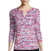 Liz Claiborne® 3/4-Sleeve Print Knit T-Shirt - Tall