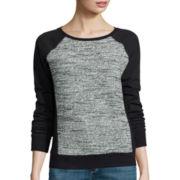 Liz Claiborne® Long-Sleeve Ribbed-Panel Sweatshirt - Petite