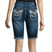 Love Indigo Wing Back-Flap Pocket Denim Bermuda Shorts
