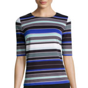 Liz Claiborne® Elbow-Sleeve Textured Striped Top
