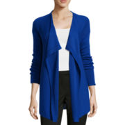 Liz Claiborne® Long-Sleeve Pointelle Open-Front Cardigan