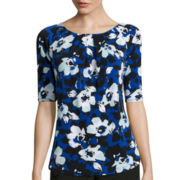 Liz Claiborne® 3/4-Sleeve Pleated-Neck Knit Top