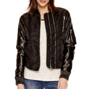 i jeans by Buffalo Faux Leather-Sleeve Jacket