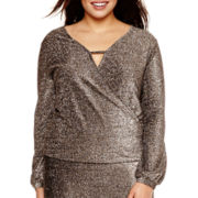 Bisou Bisou® Long-Sleeve Surplice Keyhole High-Low Top - Plus