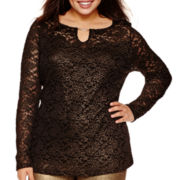 Bisou Bisou® Long-Sleeve Foiled Lace Keyhole Top - Plus