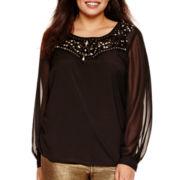 Bisou Bisou® Long-Sleeve Embellished Top - Plus