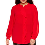 Bisou Bisou® Long-Sleeve Ruffle Blouse - Plus