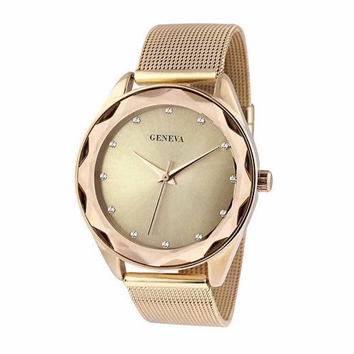 Geneva Womens Gold-Tone Mesh Bracelet Watch