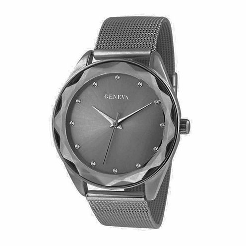 Geneva Womens Gunmetal Mesh Bracelet Watch