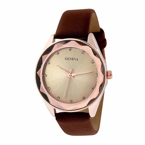 Geneva Womens Rhinestone and Brown Strap Watch