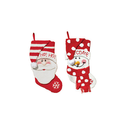 "18.5"" Hooked Santa & Snowman Stocking- Set of 2"""