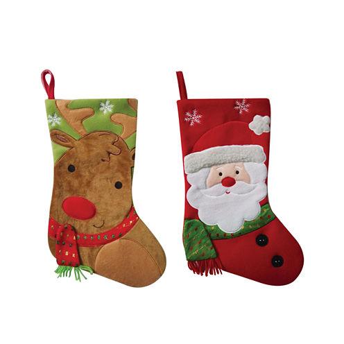 "18"" Rudolph & Santa Stocking- Set of 2"""
