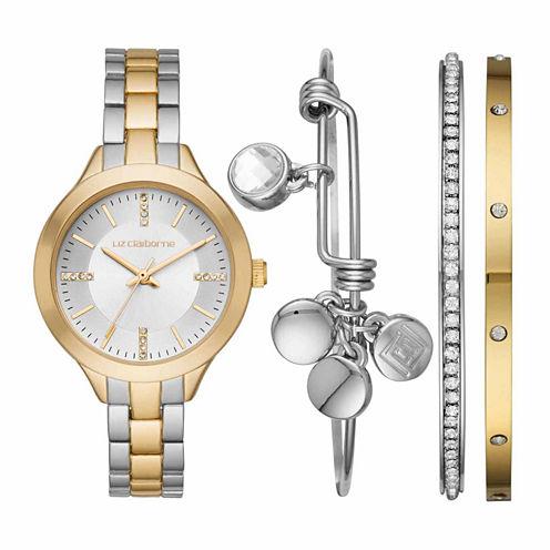 Liz Claiborne Womens Two Tone Watch Boxed Set-Lc9044