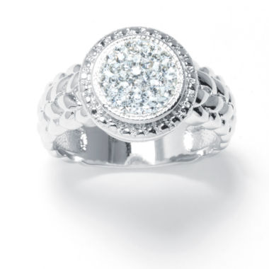 jcpenney.com | Sparkle Allure White Crystal Silver Over Brass Cocktail Ring