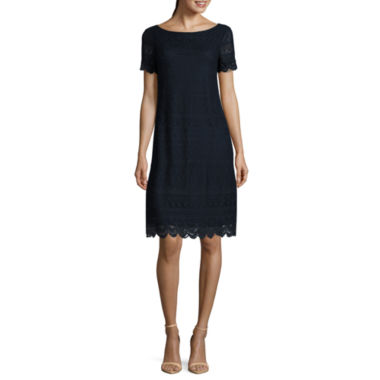 jcpenney.com | London Style Short Sleeve Lace Shift Dress