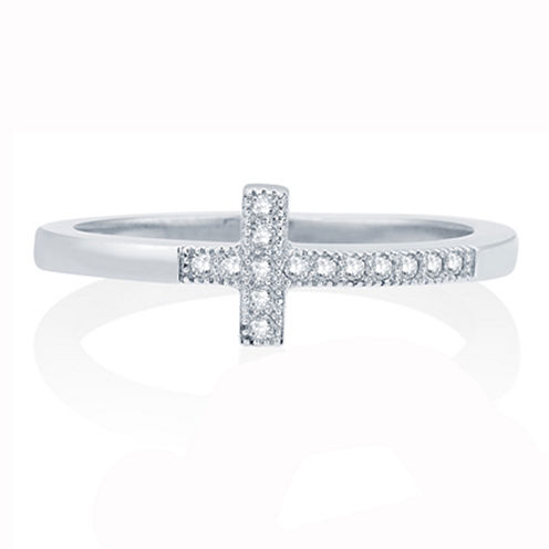 Womens 1/10 CT. T.W. White Diamond 10K Gold Cocktail Ring