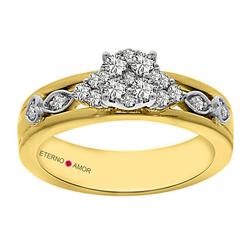 Eterno Amor Womens 1/2 CT. T.W. Round Diamond 14K Gold Engagement Ring