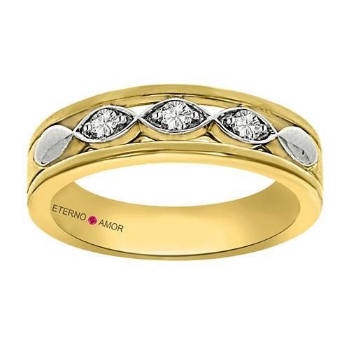 Eterno Amor Womens 1/5 CT. T.W. Diamond 14K Gold Band