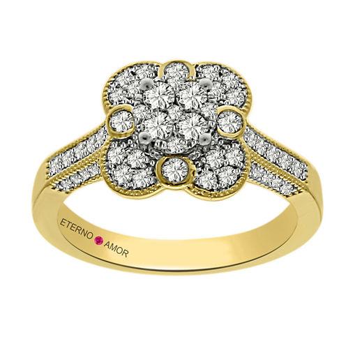 Eterno Amor Womens 3/4 CT. T.W. Round White Diamond 14K Gold Engagement Ring