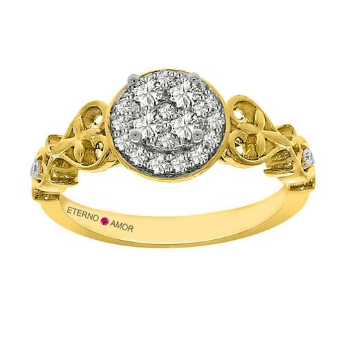 Eterno Amor Womens 3/8 CT. T.W. Round White Diamond 14K Gold Engagement Ring