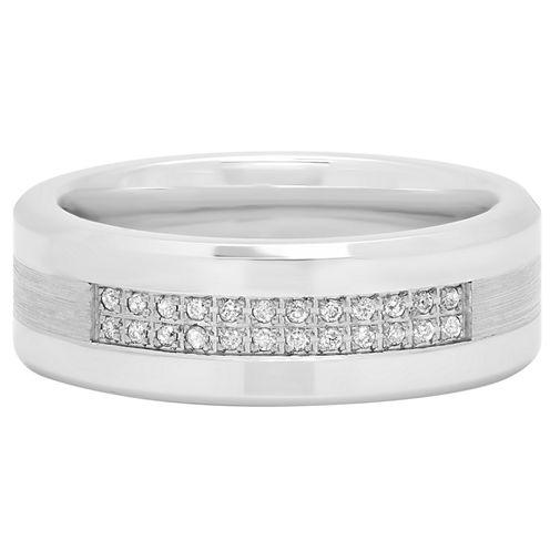 Mens 1/8 CT. T.W. Genuine Diamond Cobalt Wedding Band