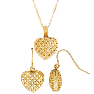 jcpenney.com | 10K Yellow Gold Diamond-Cut Puffed Heart Earring and Pendant 2-pc. Jewelry Set
