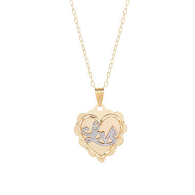 "jcpenney.com | 10K Yellow Gold Diamond-Cut """"Love"""" Heart Pendant Necklace"