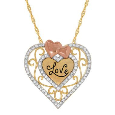 "jcpenney.com | 14K Tri-Tone Gold over Silver Crystal """"Love"""" Heart Filigree Pendant Necklace"