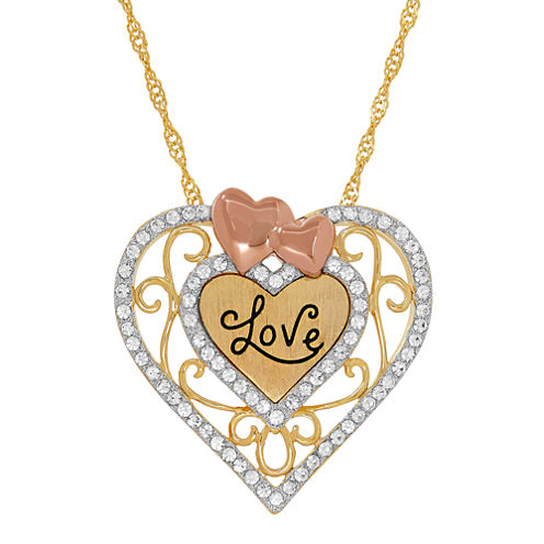 "14K Tri-Tone Gold over Silver Crystal """"Love"""" Heart Filigree Pendant Necklace"