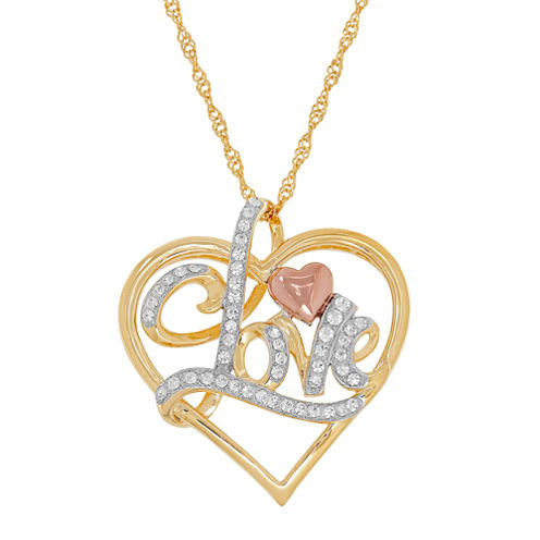 "14K Tri-Tone Gold over Silver Crystal """"Love"""" Heart Pendant Necklace"