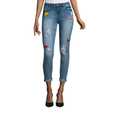 jcpenney.com | Vanilla Star Diy Patched Dbl Roll Cuff Skinny Jeans-Juniors