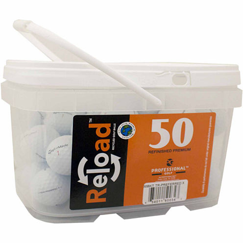50 pack Taylormade Tour Preferred X Refinished Golf Balls in a reusable plastic bucket with handle.