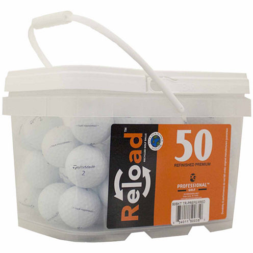 50 pack Taylormade Tour Preferred Refinished Golf Balls in a reusable plastic bucket with handle.