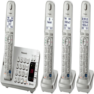 jcpenney.com | Panasonic KX-TGE274S Link2Cell DECT 6.0 Bluetooth Cordless Phone w/ 4 Handsets & Answering Machine - Silver