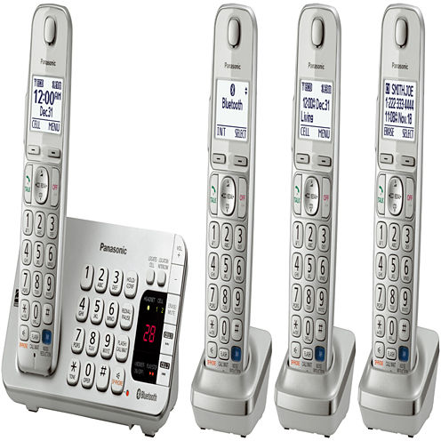 Panasonic KX-TGE274S Link2Cell DECT 6.0 Bluetooth Cordless Phone w/ 4 Handsets & Answering Machine - Silver