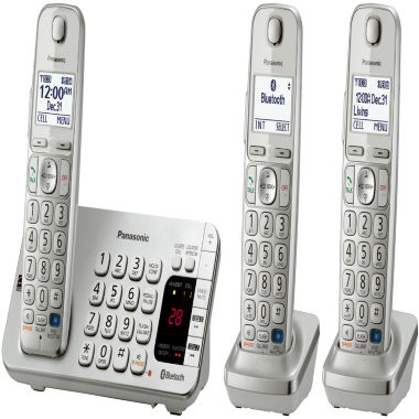 jcpenney.com | Panasonic KX-TGE273S Link2Cell DECT 6.0 Bluetooth Cordless Phone w/ 3 Handsets & Answering Machine - Silver