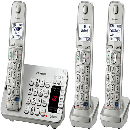 Panasonic KX-TGE273S Link2Cell DECT 6.0 Bluetooth Cordless Phone w/ 3 Handsets & Answering Machine - Silver
