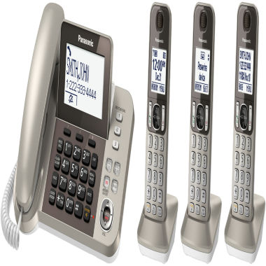 jcpenney.com | Panasonic KX-TGF353N DECT 6.0 Expandable Corded Phone with 3 Cordless Handsets & Answering Machine - Champagne Gold