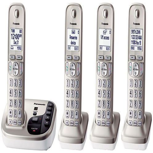 Panasonic KX-TGD224N Expandable Digital Cordless Answering System with 4 Handsets - Champagne Gold