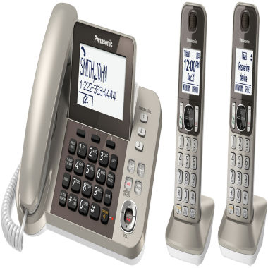 jcpenney.com | Panasonic KX-TGF352N DECT 6.0 Expandable Corded Phone with 2 Cordless Handsets & Answering Machine - Champagne Gold