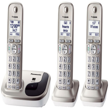 jcpenney.com | Panasonic KX-TGD213N Expandable Digital Cordless Phone with 3 Handsets - Champagne Gold