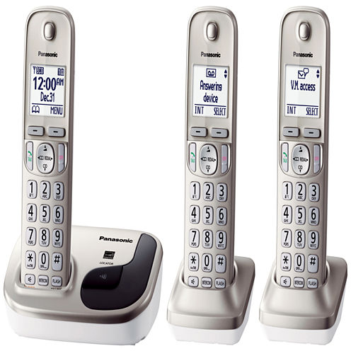 Panasonic KX-TGD213N Expandable Digital Cordless Phone with 3 Handsets - Champagne Gold