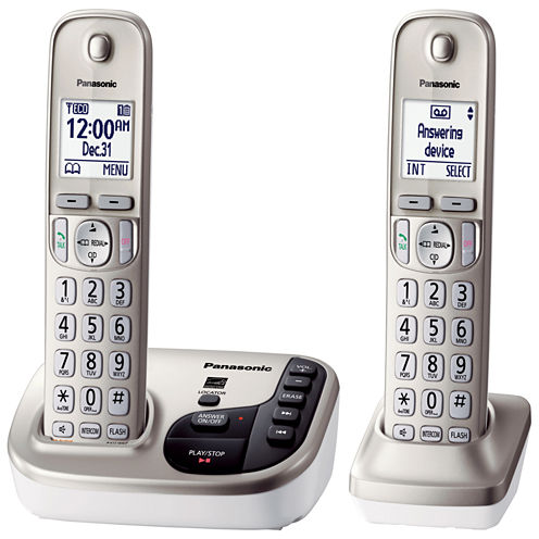 Panasonic KX-TGD222N Expandable Digital Cordless Answering System with 2 Handsets - Champagne Gold