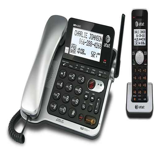 AT&T CL84102 DECT 6.0 Expandable Corded/Cordless Phone with Answering System and Caller ID/Call Waiting