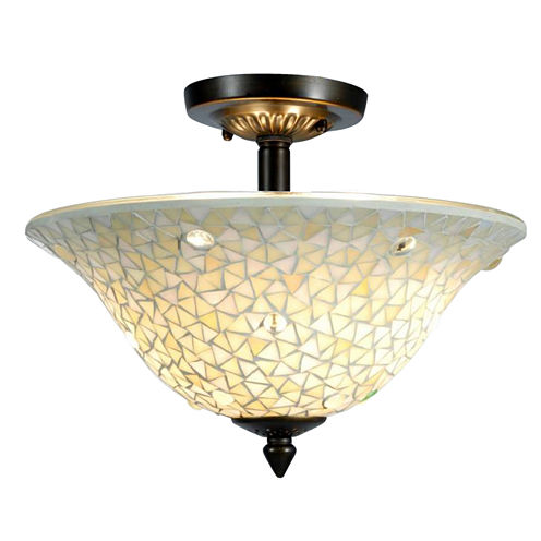 Dale Tiffany™ Jeweled White Mosaic Semi Flush Mount