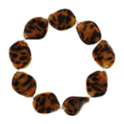 Cheetah Glass Bead Stretch Bracelet
